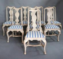 Set of Eight Rococo Style Dining Chairs