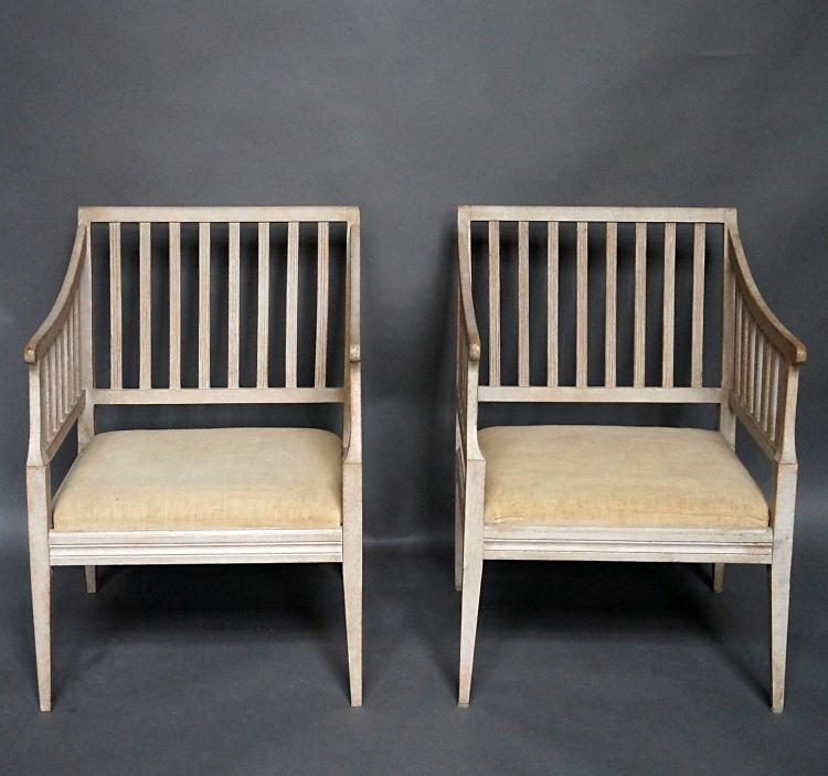Pair of Open Backed Armchairs