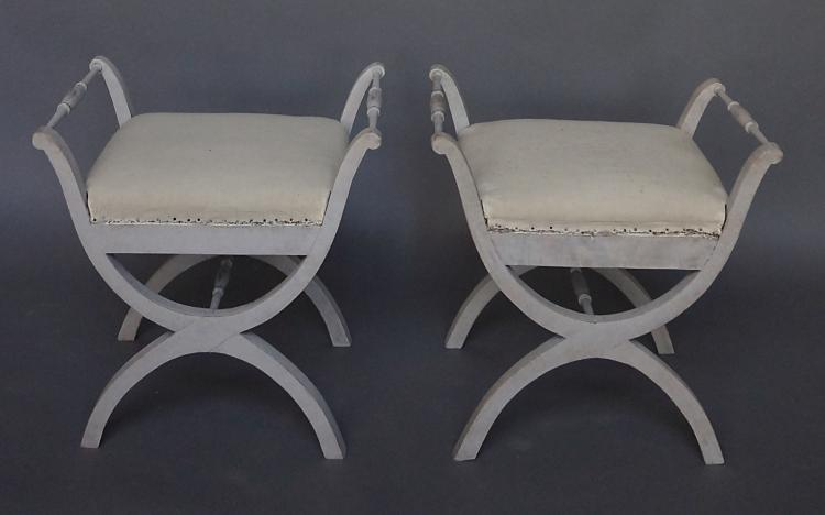 Pair of Swedish Curule Stools