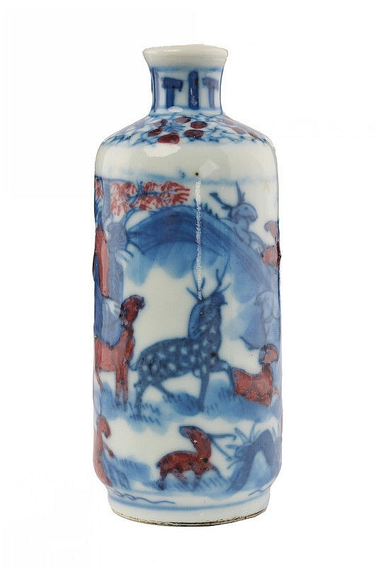 A blu white and aubergine porcelain snuff bottle