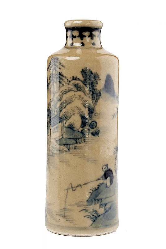 A nice porcelain snuff bottle with blu decoration Yongzheng marked