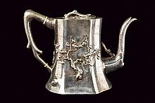 A beautiful and rare silver tea pot for export Luen Wo marked