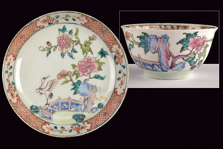 A fine famille rose porcelain cup and dish