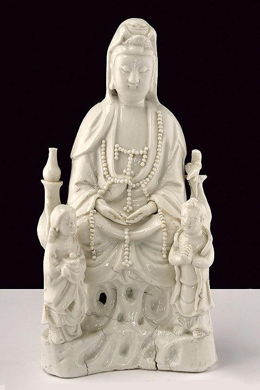A fine Blanc de Chine Guanyin porcelain figure