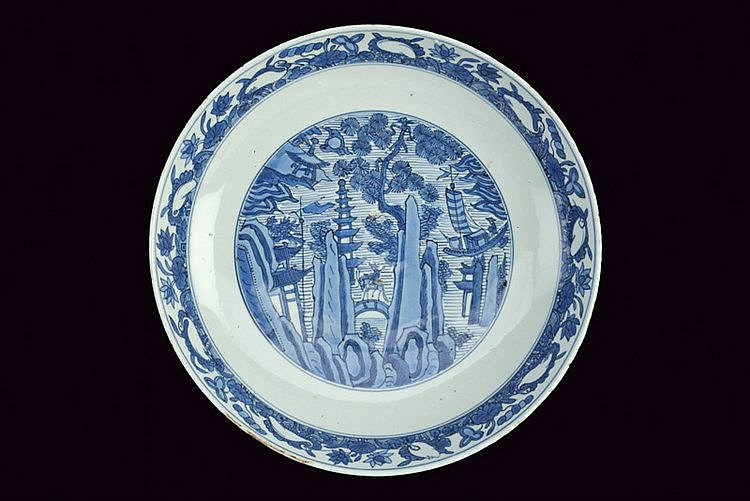 A beautiful and large blu and white porcelain plate