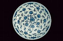 Important, large and rare blu and white porcelain plate