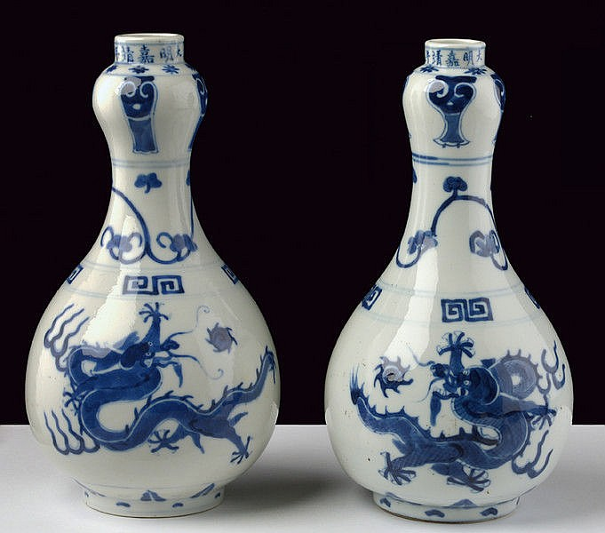 A pair of white and blu porcelain vases