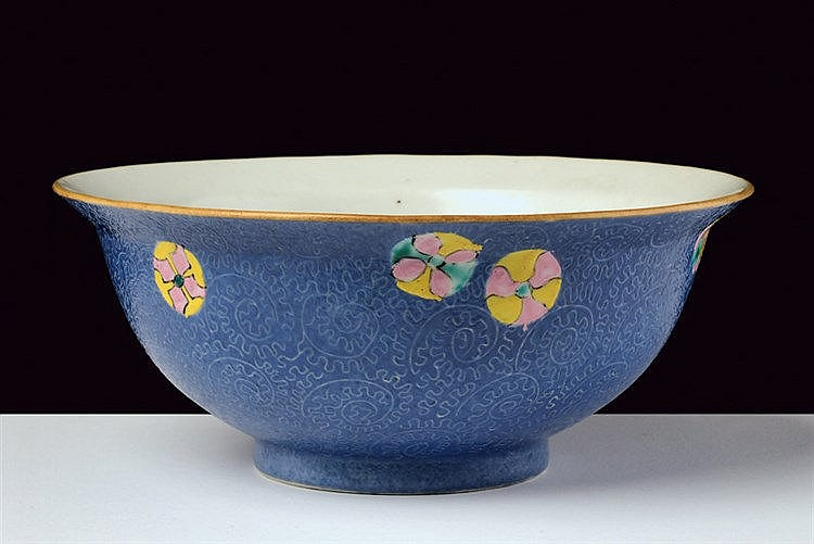 A blu ground sgraffito porcelain bowl Qianglong marked