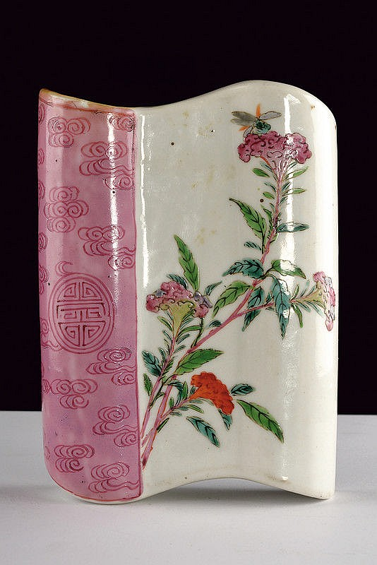 A fine and rare scroll shaped porcelain wall vase