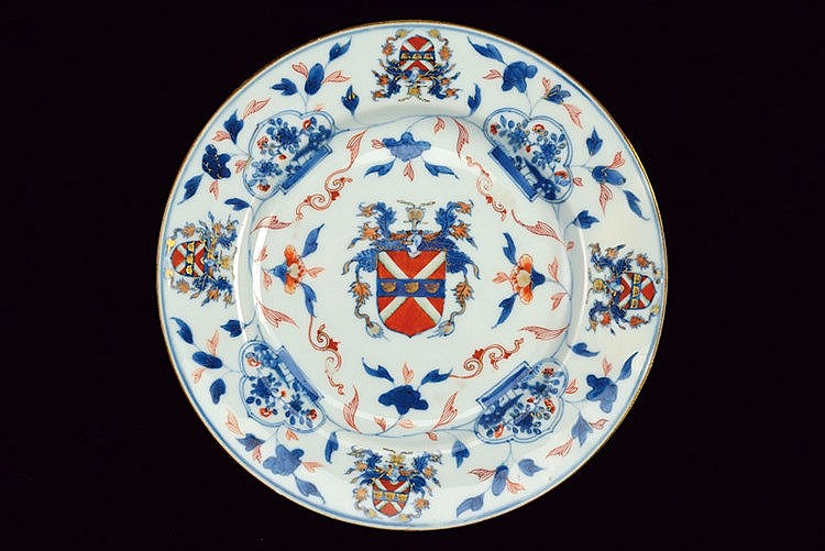 A rare armorial Imari porcelain dish for the American market