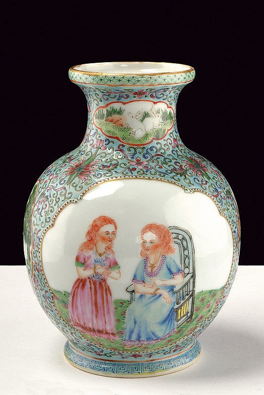 A famille rose porcelain vase with european subjects