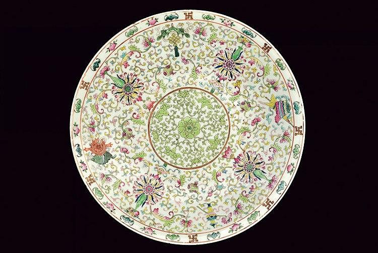 A fine famille rose porcelain dish