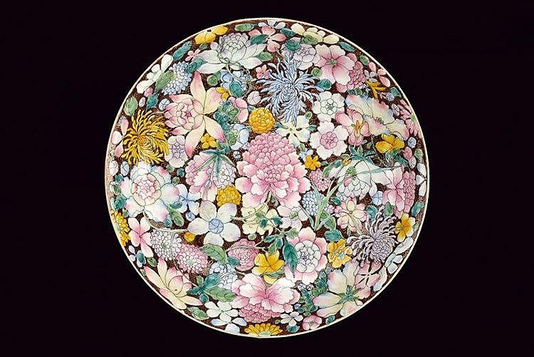 An elegant milleflleurs porcelain dish