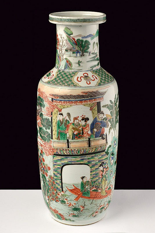 A beautiful rouleau shaped famille verte porcelain vase