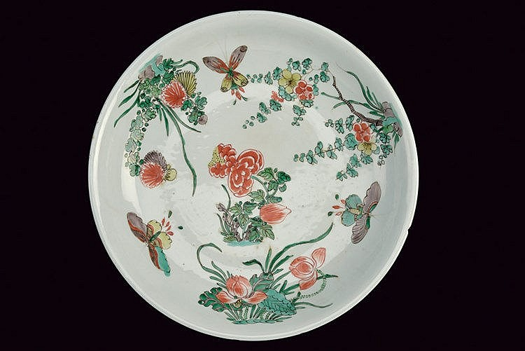 Large famille verte porcelain plate