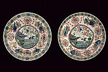 A nice pair of famille verte porcelain dishes
