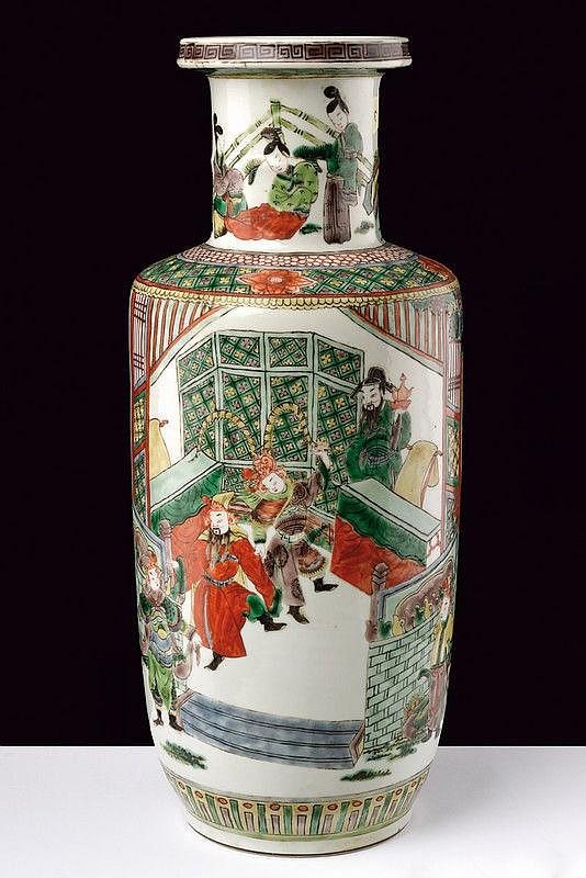 A rouleau porcelain famille verde vase