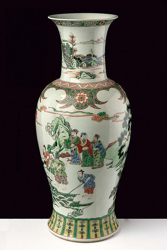 A big famille verte porcelain baluster vase famille verte
