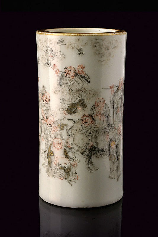 An important and rare porcelain brush pot Daoguang marked and of the period