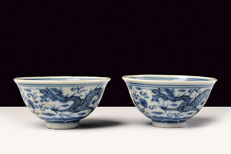 A fine pair of blu and white porcelain cups