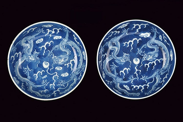 A fine pair of blu and white porcelain small dishes Guangxu marked and of the period