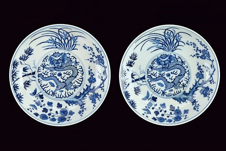 A fine pair of blu and white porcelain dishes Guangxu marked and of the period