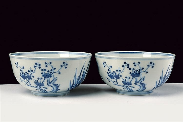 A nice pair of blu and white porcelain bowls Guangxi marked and of the period
