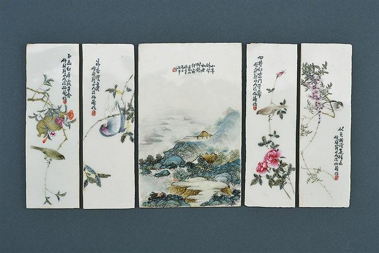Five famille rose porcelain tiles