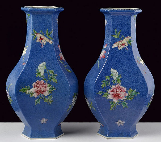 A rare pair of blu sgraffito hexagonal porcelain vases