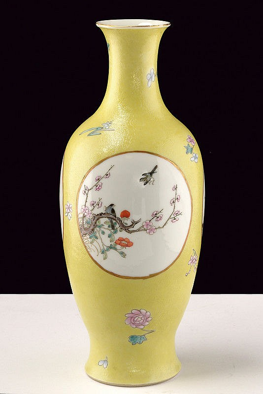 A rare yellow sgraffito ground famille rose eggshell porcelain vase Ju Ren Tang Zhi marked