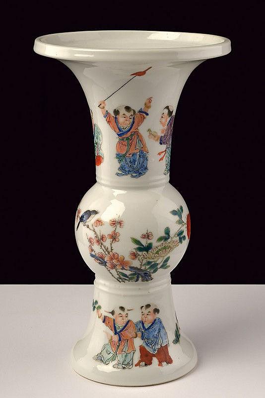 A nice famille rose porcelain baluster vase