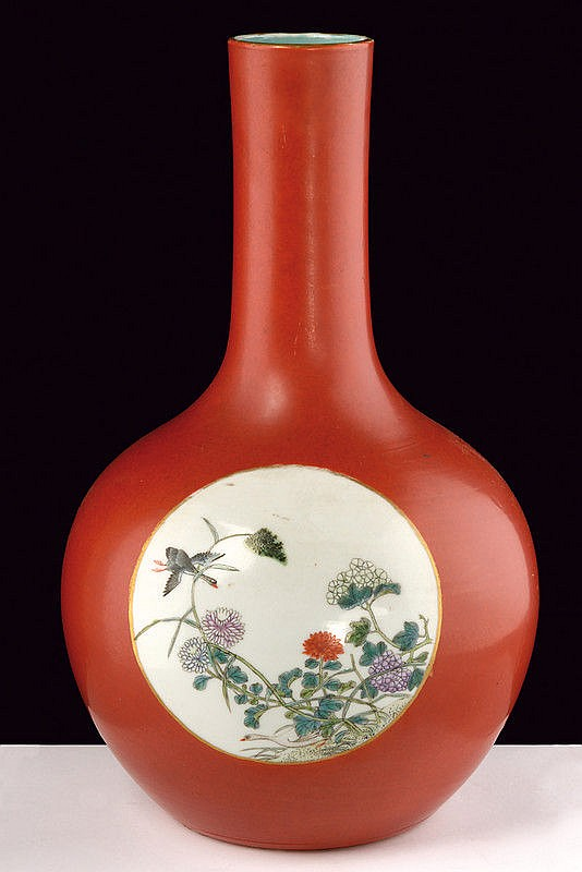 A fine red ground porcelain vase