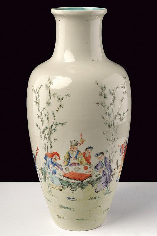 A ovoid famille rose porcelain vase