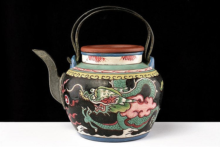 A painted Yixing tea pot