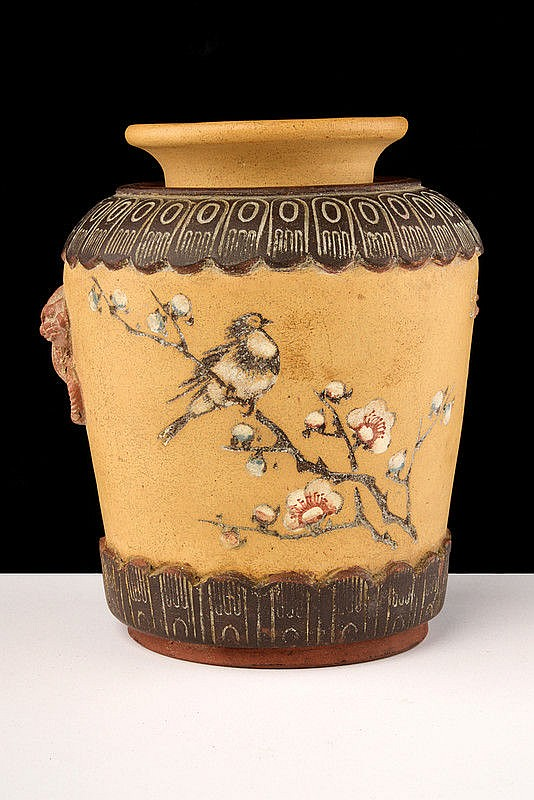 A rare painted Yixing vase with inscriptions and mark