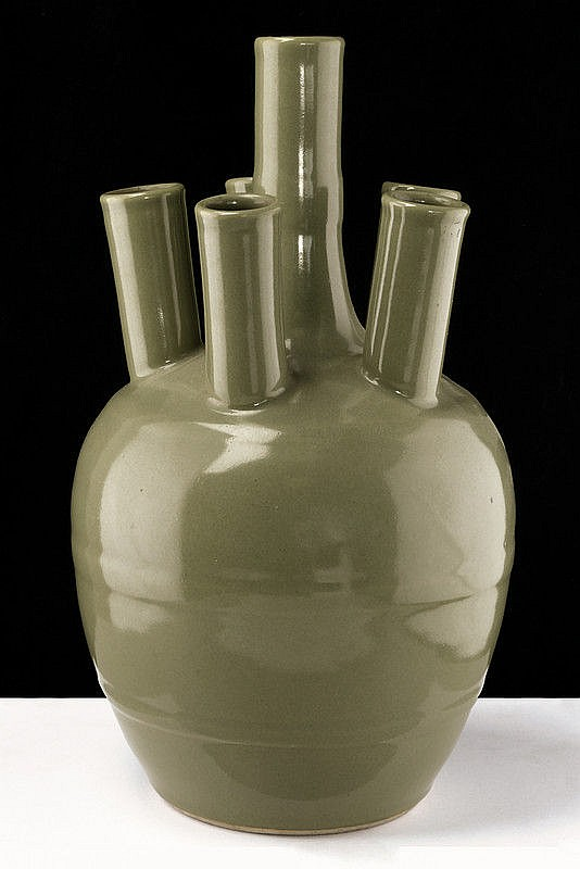 A nice celadon glazed five-necked porcelain vase