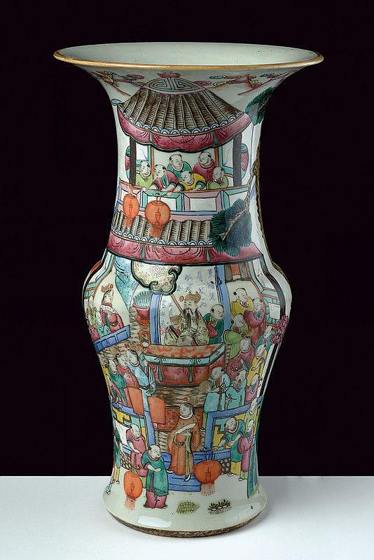 A famille rose baluster porcelain vase