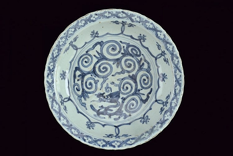 A big blu and white porcelain dish
