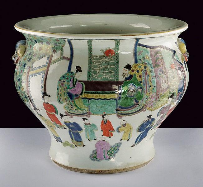 A large and rare famille verte porcelain cache-pot