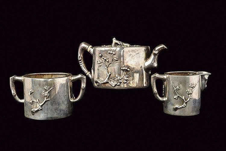 A fine and rare three-piece silver export tea service Wang Hing marked