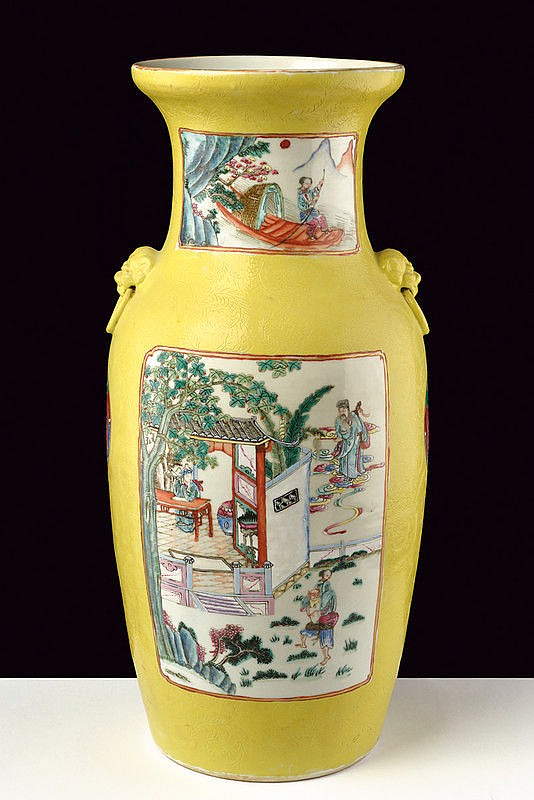Large yellow sgraffito ground porcelain vase