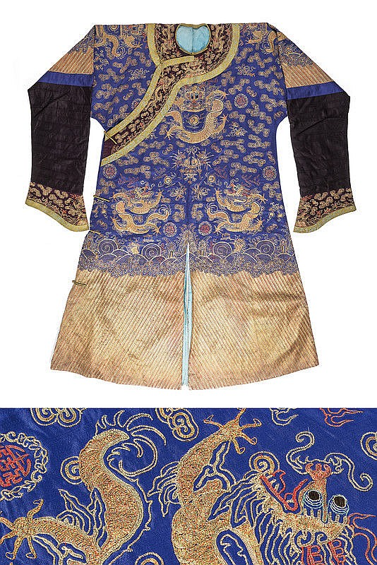 A rare silk dress embroidered with gold dragons