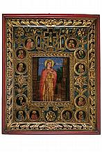 Saint Mary with twelve prophets inserted into medallions.