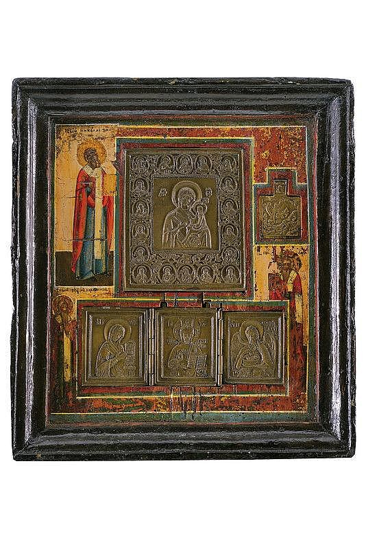 Iconotheca with three brass icons