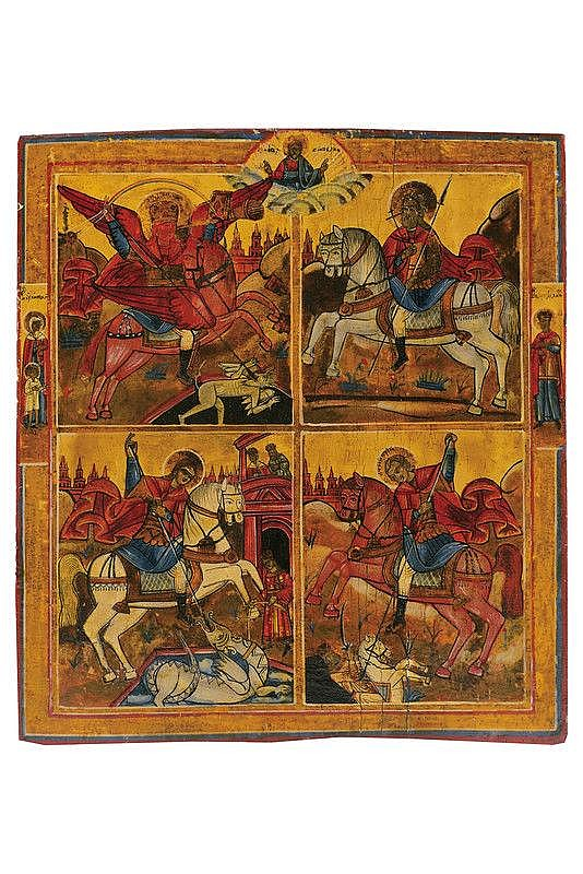 Four stands with the saints on horseback Archangel Michael, Mena, George and Dimitri