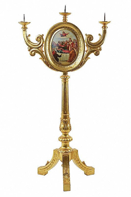 Candlestick with depictions of the Ascension and the Dormition of the Virgin