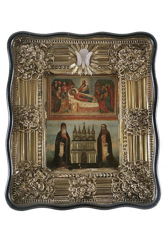 Saints Anthony and Theodosius with the Dormition of the Mother of God