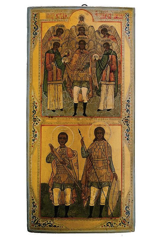 Archangels Saint Michael and Saint George with Saint John the soldier