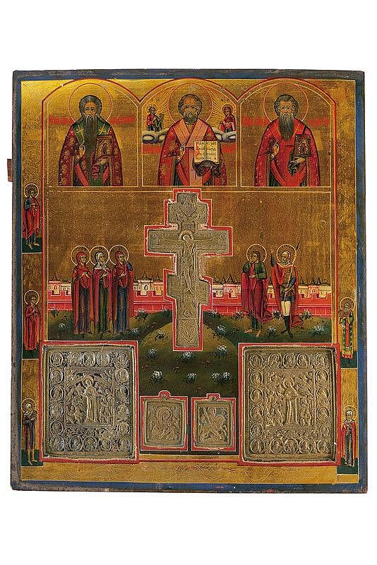 Staurotheke with brass cross and icons