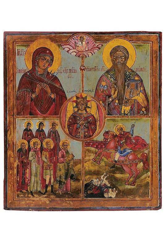 Four stands with Mary of god Umilenie (seven sorrows) Saint Caralampo, seven saints, Saint Dimitri